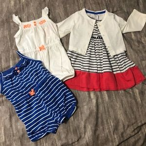 2 rompers and a cute little dress.